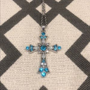 Jewelry - Turquoise & Opal Silver Cross Necklace NWT